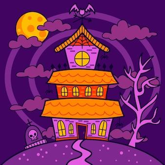 手描きのハロウィーンの家