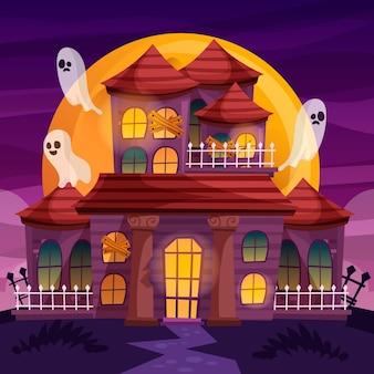 Casa di halloween disegnati a mano