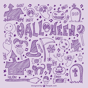 Hand drawn halloween icons set Free Vector