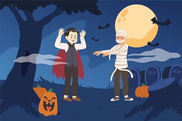 Hand drawn halloween illustration background
