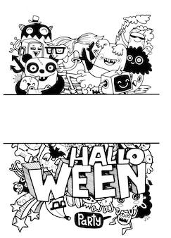 Hand drawn halloween illustration of doodle.