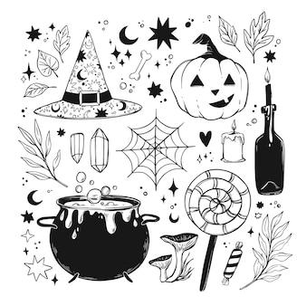 手描きのハロウィーンのイラスト。カボチャ、魔女の帽子、ポーション付きの大釜でセットされた魔法