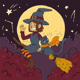 Illustrazione di halloween disegnata a mano con strega