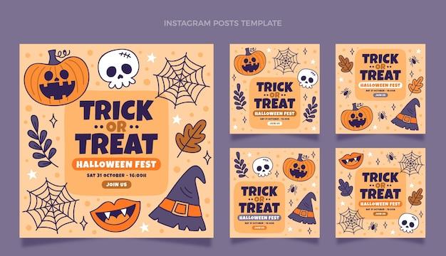 Collezione di post di instagram di halloween disegnati a mano