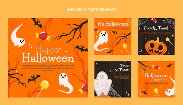 Collezione di post di instagram di halloween disegnata a mano