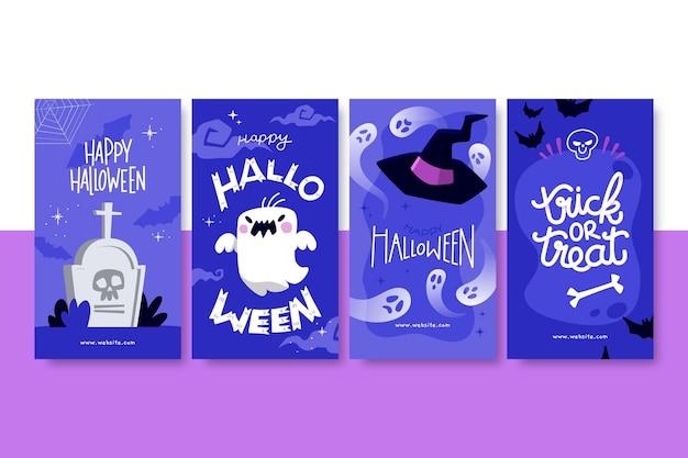 Collezione di storie di instagram di halloween disegnate a mano