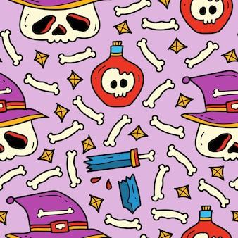 손으로 그린 할로윈 귀여운 낙서 만화 패턴 디자인