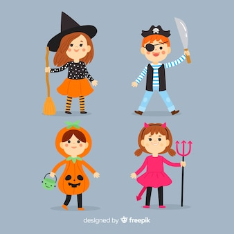 Hand drawn halloween kid collection on blue background