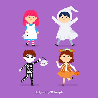 Hand drawn halloween kid collection on violet background