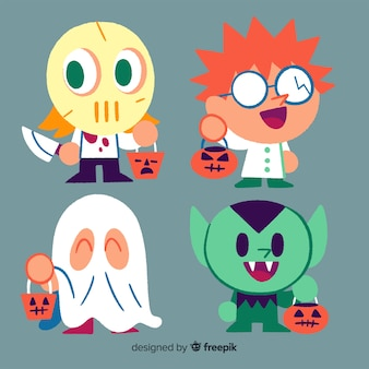 Hand drawn halloween kid collection with costumes