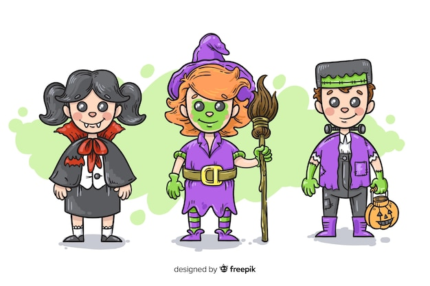 Hand drawn halloween kid collection