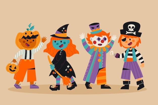 Hand drawn halloween kid collection
