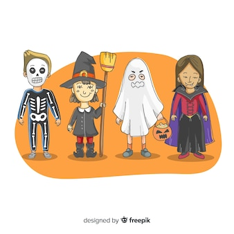 Hand drawn halloween kid costume collection