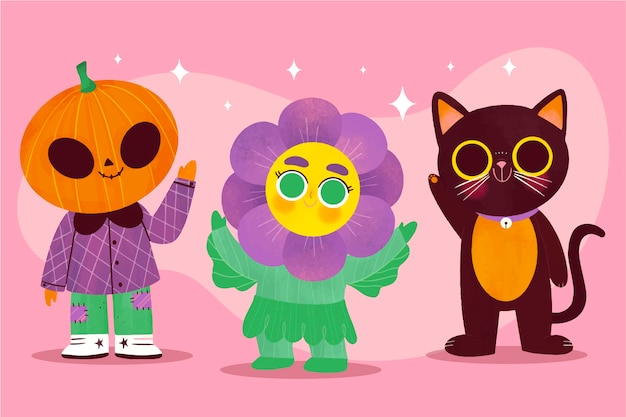 Hand drawn halloween kids collection in costumes