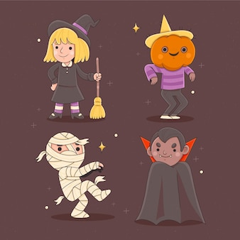 Hand drawn halloween kids collection