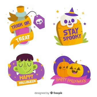 Hand drawn halloween label or badge collection