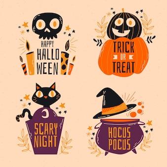 Ручной обращается коллекция этикеток хэллоуин