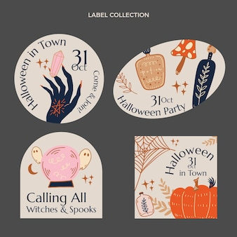 Hand drawn halloween labels collection