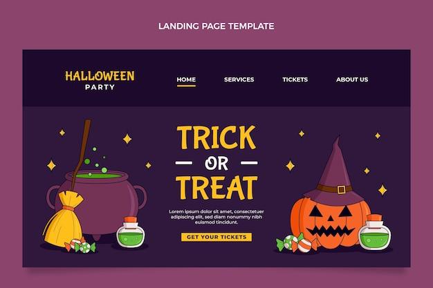 Modello di pagina di destinazione di halloween disegnato a mano