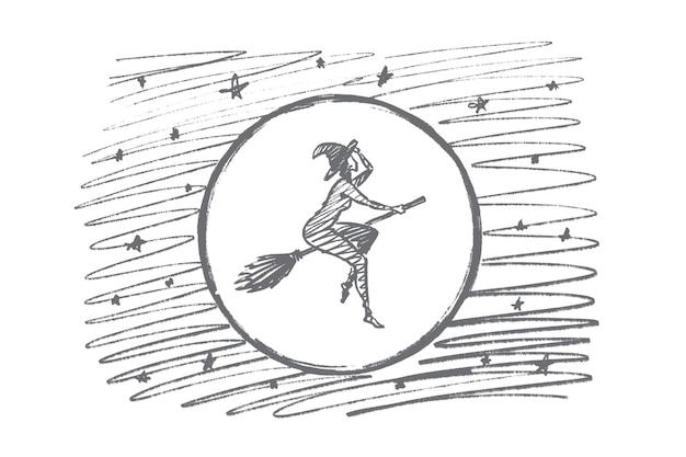 손으로 그린 할로윈 마술 여자 개념 스케치