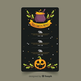 Hand drawn halloween menu template