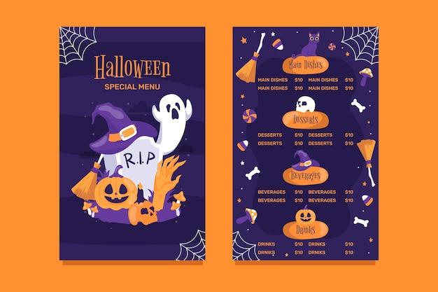 Modello di menu di halloween disegnato a mano