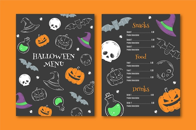 Рисованный шаблон меню хэллоуина