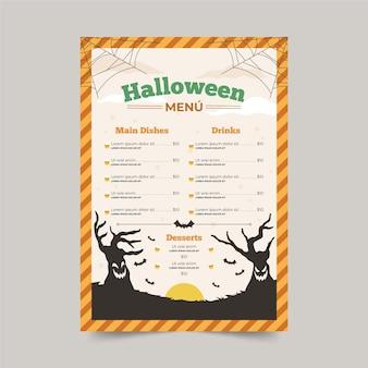 Ручной обращается шаблон меню хэллоуина