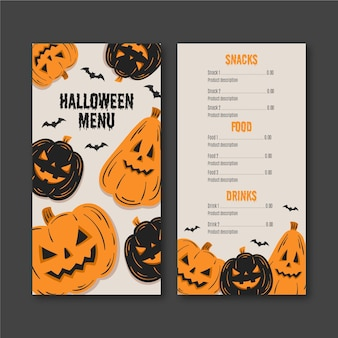 Hand-drawn halloween menu