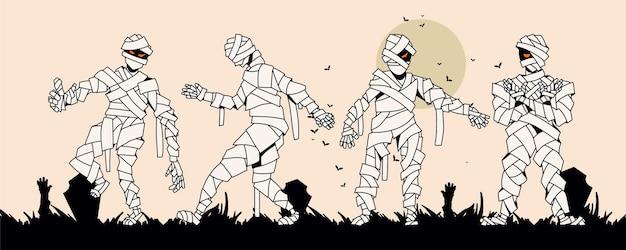 Collezione di mummie di halloween disegnate a mano
