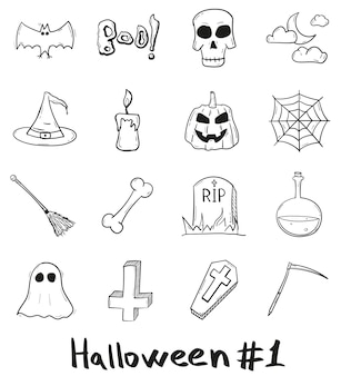 Hand drawn halloween mystical holiday icon set in doodle style isolated.