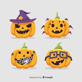 Hand drawn halloween nerdy pumpkin collection