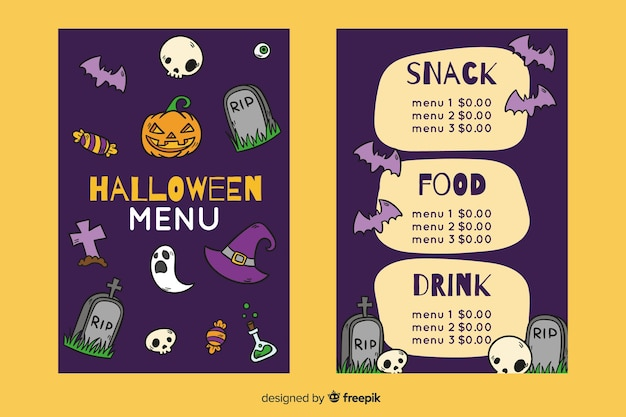 Hand drawn halloween night menu template