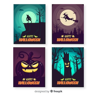 Hand drawn halloween night with full moon card collection