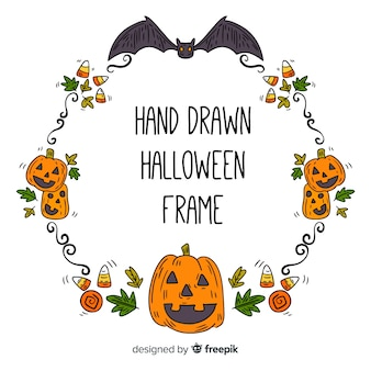 Hand drawn halloween ornamental frame