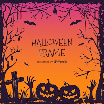 Hand drawn halloween ornamental frame