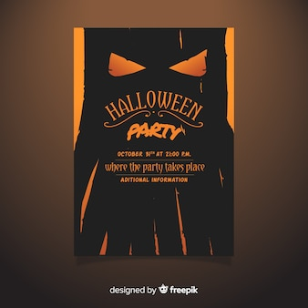 Hand drawn halloween party flyer template