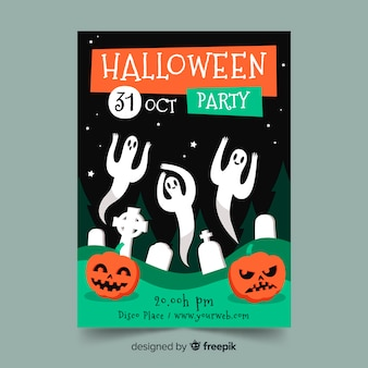 Hand drawn halloween party poster template with ghosts