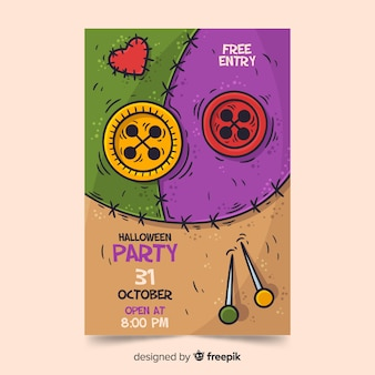 Hand drawn halloween party poster template