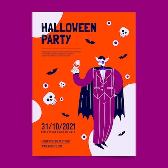 손으로 그린 할로윈 파티 포스터 템플릿