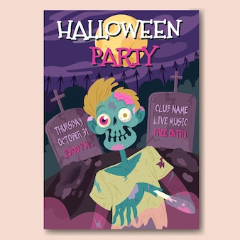 Hand drawn halloween party poster with zombie