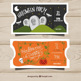Hand drawn halloween party tickets