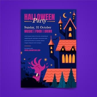 Modello di volantino verticale festa di halloween disegnato a mano