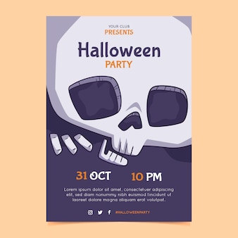 Hand drawn halloween party vertical flyer template