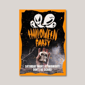 Ручной обращается шаблон вертикального плаката хэллоуина