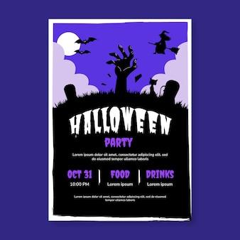 Modello di poster verticale festa di halloween disegnato a mano