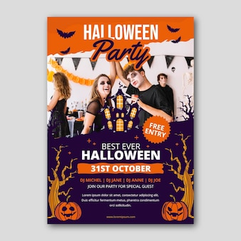 Hand drawn halloween party vertical poster template