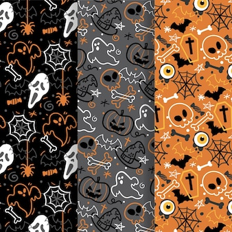 Hand-drawn halloween pattern collection theme