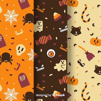 Hand drawn halloween pattern collection