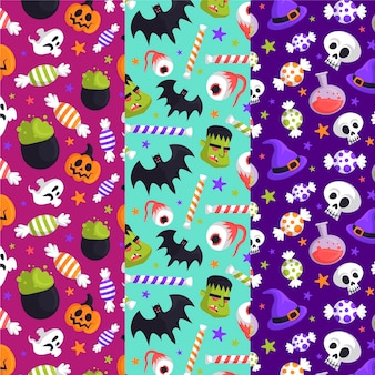 Hand drawn halloween pattern pack